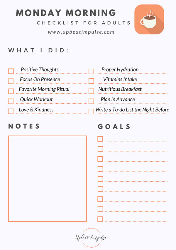 Morning Routine Checklist For S