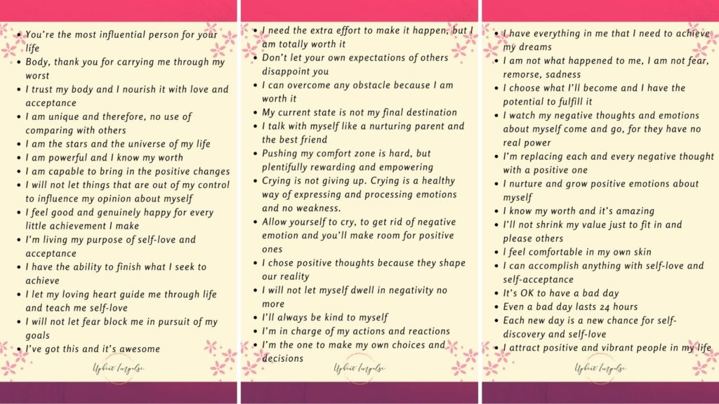 printable list of positive affirmations
